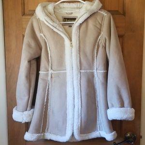 Hemisphere girl's tan & cream faux fur lined coat